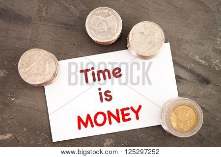 Time is money inspirational quote, stock photo