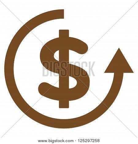 Refund vector icon. Refund icon symbol. Refund icon image. Refund icon picture. Refund pictogram. Flat brown refund icon. Isolated refund icon graphic. Refund icon illustration.