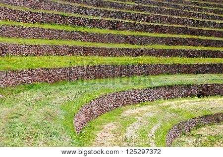 South America - Moray ancient Inca circular terraces. Probable there is the Incas laboratory of agriculture Sacred Valley Cusco Peru