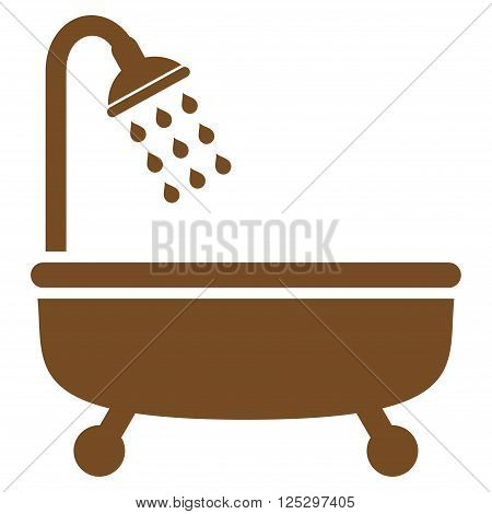 Shower Bath vector icon. Shower Bath icon symbol. Shower Bath icon image. Shower Bath icon picture. Shower Bath pictogram. Flat brown shower bath icon. Isolated shower bath icon graphic.