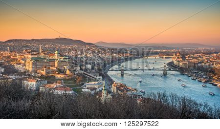 Panoramic View of Budapest and the Danube River with Many Boats as Seen from Gellert Hill Lookout Point