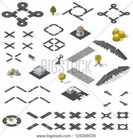 Road Map Kit isolated on white - vector elements to create your own isometric city map