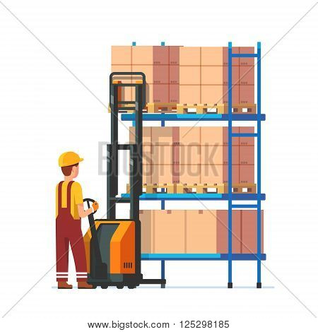 Warehouse worker operating electric fork lifter, loading stacked boxes on a metal rack. Modern flat style vector illustration isolated on white background.