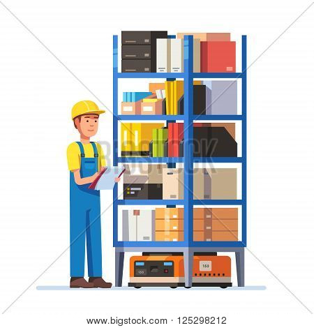 Warehouse worker checking inventory on a metal rack on a robot. Stock taking job. Modern flat style vector illustration isolated on white.