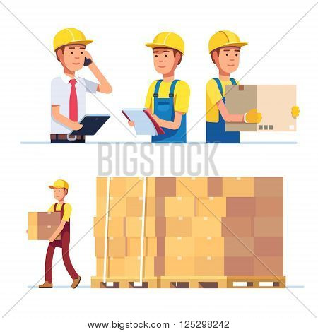 Warehouse and delivery workers. Foreman, manager and delivery boy. Modern flat style vector illustration isolated on white background.
