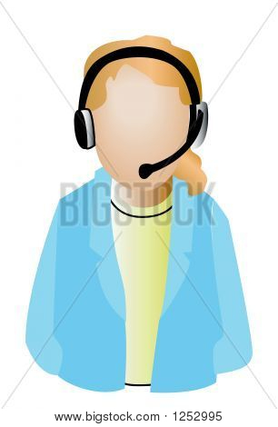 an isolated call center agent illustration with clipping path poster