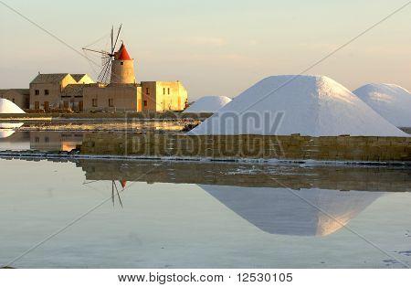 old windmill in sicily, marsala, trapani, italy