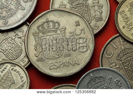 Coins of Spain. Coat of arms of Spain depicted in the Spanish 500 peseta coin (1989).