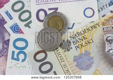 polish currency zloty close up in studio