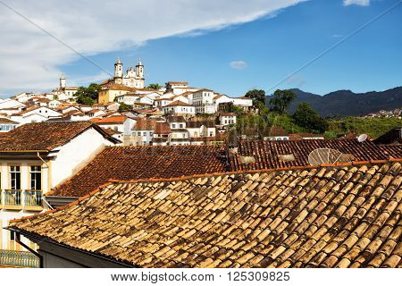view of the historical town Ouro Preto Minas Gerais Brazil