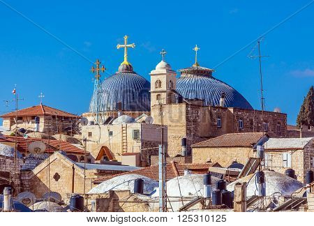 Roofs Of Old City With Holy Sepulcher Chirch Dome, Jerusalem