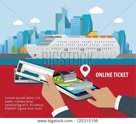 Cruise booking app on smartphone screen. Train tickets service. online booking from smartphone