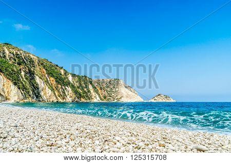 View of beautiful Petani beach and Petani bay, Kefalonia island, Greece.