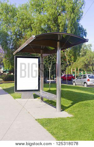 bus billboard roadside for das in blank