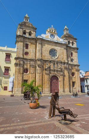 CARTAGENA COLOMBIA - FEB 04 : Cathedral de San Pedro Claver in Cartagena Colombia. on February 04 2016. the Cathedral was founded in 1580.
