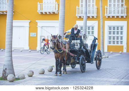 CARTAGENA COLOMBIA - FEB 04 : A Horse drawn carriage in Cartagena Colombia on Februery 04 2016. The historic port city Cartagena is UNESCO World Heritage Site since 1984.