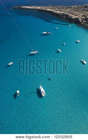 Boats on the Blue Sea, favignana, trapani, sicily, italy