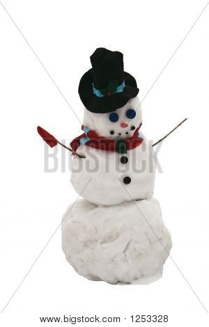 Single Snowman Isolated On White