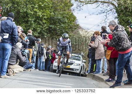 Conflans-Sainte-Honorine,France-March 6, 2016: The Australian cyclist Nathan Haas of Dimension Data Team riding during the prologue stage of Paris-Nice 2016.