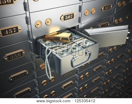 Open safe deposit box with money, jewels and golden ingot. 3d illustration poster