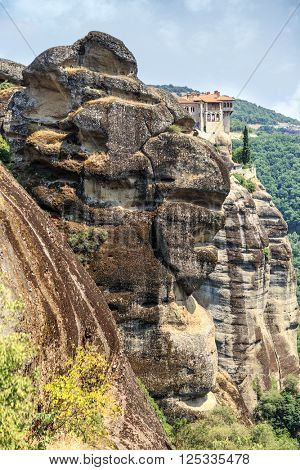 Mountain old monastery at Meteora, Greece