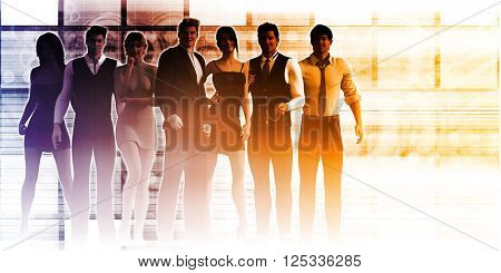 Formidable Business Team with Corporate Background as Concept 3D Render Illustration