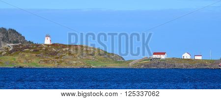TRINITY NEWFOUNDLAND JUNE 12 2014 :Fort (Admiral's) Point was established in 1748 by the British in order to protect the mercantile assets. The site in 1871 became a Light House Station