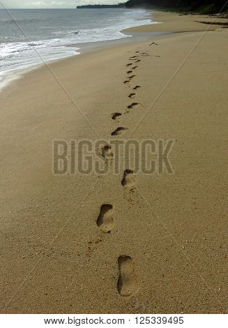 Footprints in the Sand Beautiful Beach at Dawn Desaru Beach Johor Malaysia