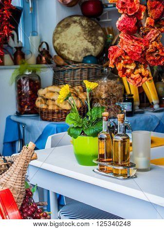 Colorful ingredients in Greek restaurant, Santorini, Greece