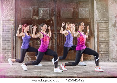 Young sportswoman practices vive dressed in colorful athletic shirts outside