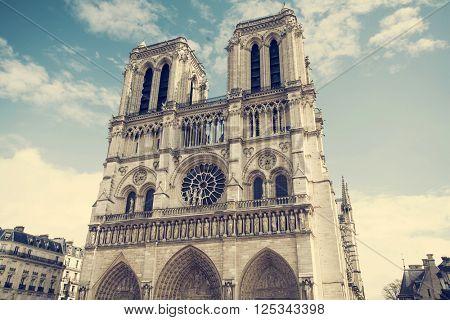 Vintage photo of the Cathedral of Notre Dame de Paris, France