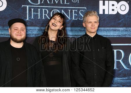 LOS ANGELES - APR 10:  Of Monsters and Men at the Game of Thrones Season 6 Premiere Screening at the TCL Chinese Theater IMAX on April 10, 2016 in Los Angeles, CA