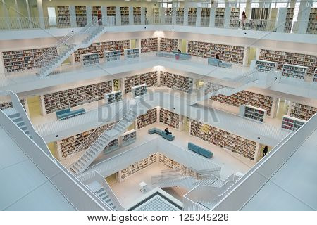 Stuttgart, Germany- May 21, 2015: Stuttgart Public Library. The Stuttgart Public Library, opened in October 2011, and placed at Mailänder Platz, was designed by Yi Architects and has more than 500,000 books.