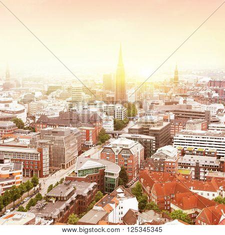 Aerial view of Hamburg at sunrise.