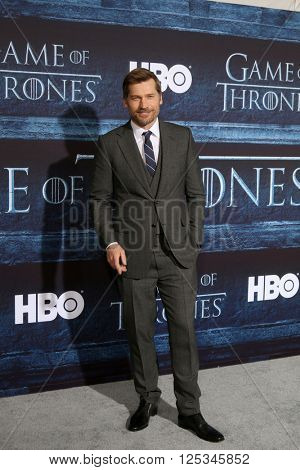 LOS ANGELES - APR 10:  Nikolaj Coster-Waldau at the Game of Thrones Season 6 Premiere Screening at the TCL Chinese Theater IMAX on April 10, 2016 in Los Angeles, CA