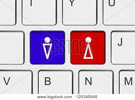 Computer keyboard with man and woman keys