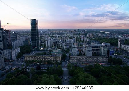 Warsaw City High View On Sunset