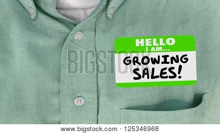 Growing Sales Selling Success Name Tag Sticker Words Business Leader
