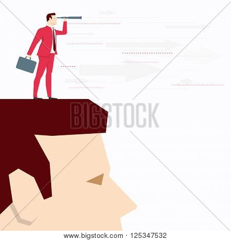 Businessman on head, looks through a telescope. Vector business concept illustration.
