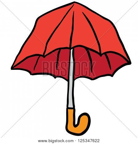 freehand drawn cartoon illustration of umbrella
