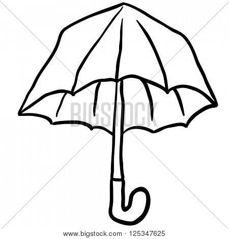 simple black and white freehand drawn cartoon umbrella