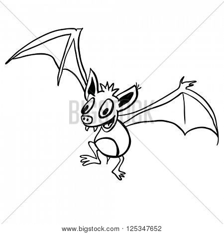 black and white bat cartoon