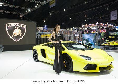 BANGKOK - MARCH 22: Lamborghini car with Unidentified model on display at The 37 th Thailand Bangkok International Motor Show on March 22 2016 in Bangkok Thailand.