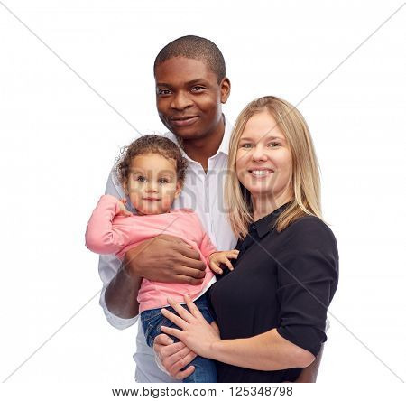 family, children, race and nationality concept - happy multiracial mother, father and little child