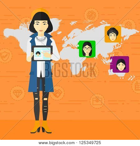 Woman holding tablet computer with social media source.