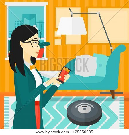 Woman with robot vacuum cleaner.