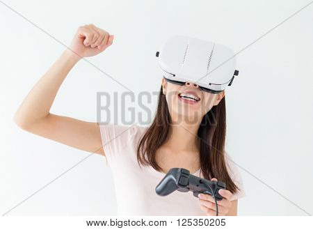 Woman play video game with virtual reality