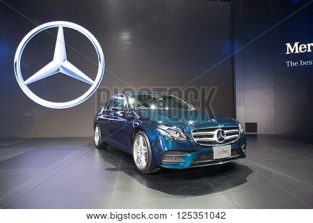 BANGKOK - MARCH 22: Mercedes Benz E 220 d car on display at The 37 th Thailand Bangkok International Motor Show on March 22 2016 in Bangkok Thailand.