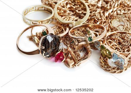Gold Jewelry On White