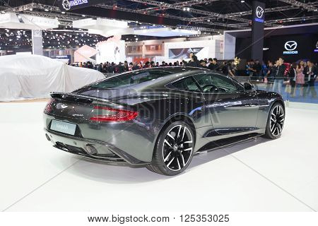 BANGKOK - MARCH 22: Back of Aston Martin Vanquish car on display at The 37 th Thailand Bangkok International Motor Show on March 22 2016 in Bangkok Thailand.